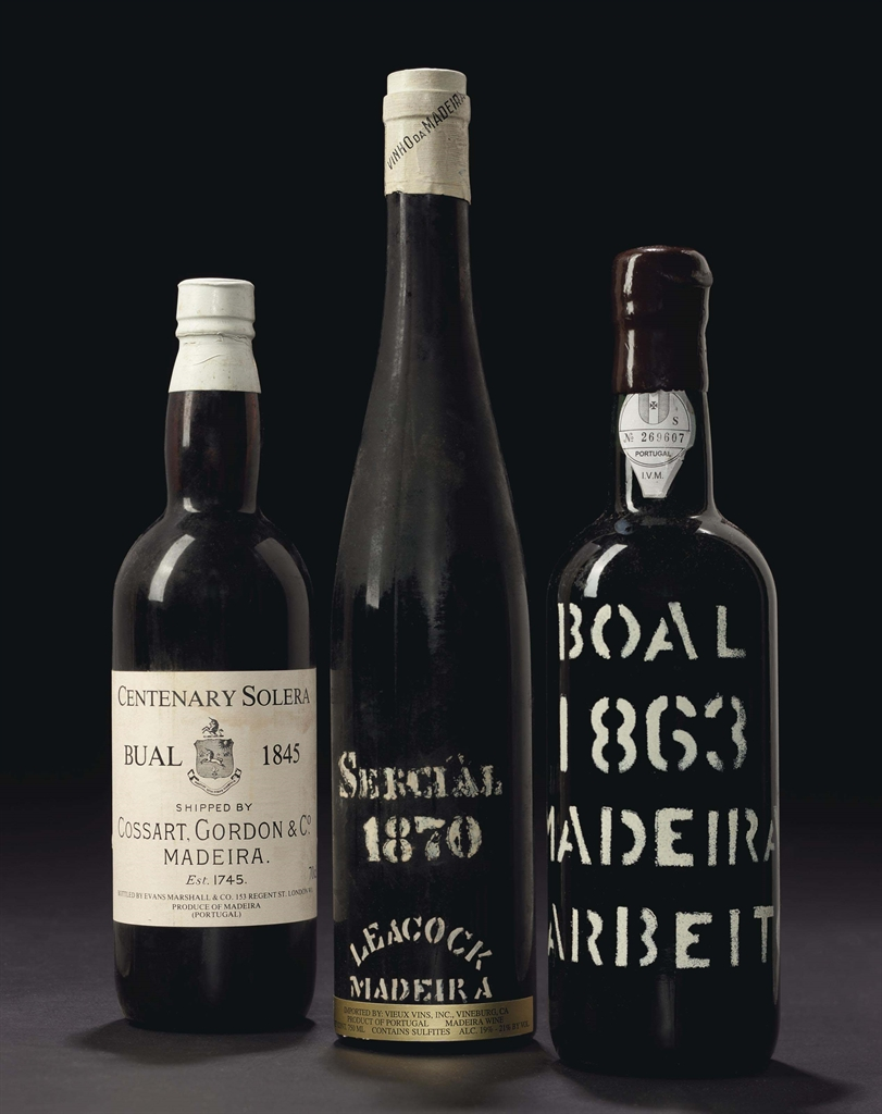 Cossart, Centenary Solera, Bual 1845. 1 bottle per lot. Sold for $796. Barbeito, Bual 1863. 2 bottles per lot. Sold for $2,205. Leacock, Sercial 1870. 1 bottle per lot. Sold for $1,041. These lots were offered in Finest and Rarest Wines and Spirits on 9 December 2016 at Christie's in New York, Rockefeller Plaza