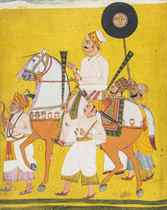 Portrait of a man on horseback, possibly Maharaja Jai Singh II (1688-1743)