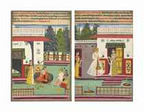 Two paintings from a Ragamala series: Bhopali and Gunkali Ragas