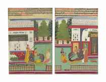 Two paintings from a Ragamala series: Bangali and Mallar Ragas
