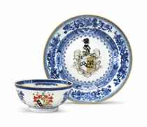 TWO BLUE AND WHITE ARMORIAL ARTICLES