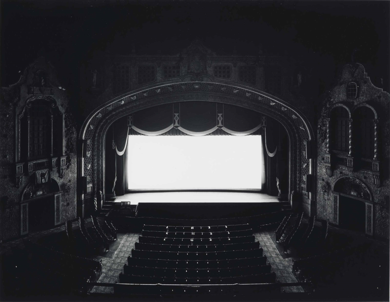 Hiroshi Sugimoto (b.  1948), Marion Palace, Ohio, 1980. Signed, titled, dated and numbered 325 in ink (verso). Image 16¾ x 21½ in (42.6 x 54.6 cm); sheet 20 x 24 in (50.8 x 61 cm). Estimate $12,000-18,000. This lot is offered in Photographs Including Property Sold to Benefit the Elton John AIDS Foundation on 6 April 2017 at Christie's in New York