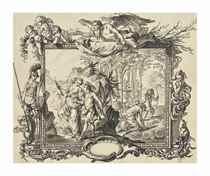 Allégorie de l'Amour : une femme avec une torche allumée conduisant un jeune homme ailé vers un temple dans un encadrement avec putti surmonté par l'allégorie du Temps