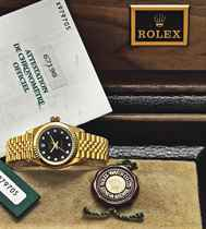 ROLEX AN 18K GOLD AND DIAMOND-SET AUTOMATIC SWEEP CENTRE SEC