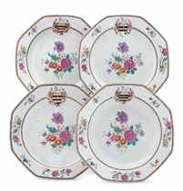 A SET OF FOUR CHINESE EXPORT ARMORIAL OCTAGONAL PLATES