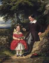 The children of John Harvey Esq., gathering wild flowers
