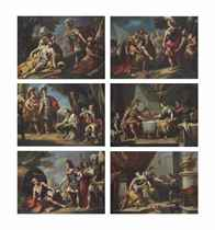 Alexander and Diogenes; Alexander and the family of Darius; Alexander before the body of Darius; The Death of Darius; The Death of Sophonisba; and The Banquet of Antony and Cleopatra