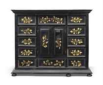 AN ITALIAN EBONY AND EBONISED PIETRE DURE AND IVORY INLAID C