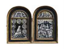 A PARCEL-GILT GRISAILLE ENAMEL DIPTYCH OF THE SEVEN SORROWS