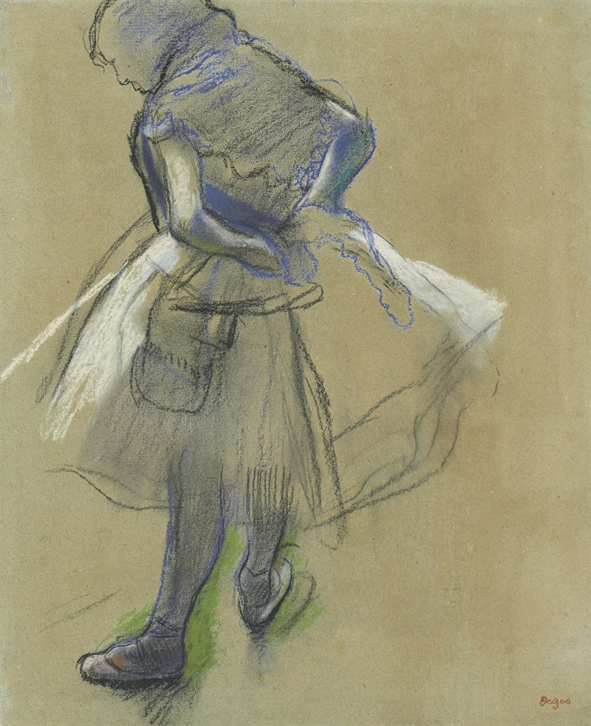 Edgar Degas (1834-1917), Danseuse debout, les mains derrière le dos. Pastel and charcoal on toned paper, 18⅝ x 15 in (47.3 x 38.7 cm). Estimate $250,000-350,000. This lot is offered in Impressionist & Modern Art Works on Paper on 16 May 2017, at Christie's in New York