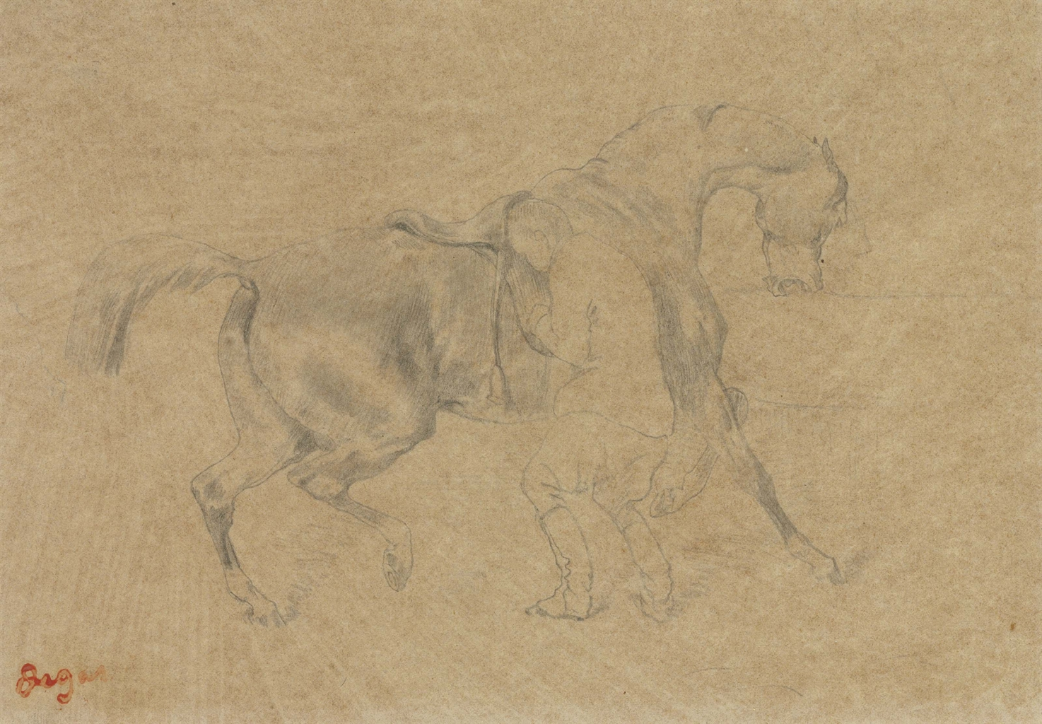Edgar Degas (1834-1917), Chevalier. Pencil on tracing paper laid down on paper laid down on board, 6⅝ x 9 in (17 x 23 cm). Estimate $18,000-25,000. This lot is offered in Impressionist & Modern Art Works on Paper on 16 May 2017, at Christie's in New York