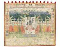 A LARGE PICHHVAI OF SHRI NATHJI AND THE GOPIS