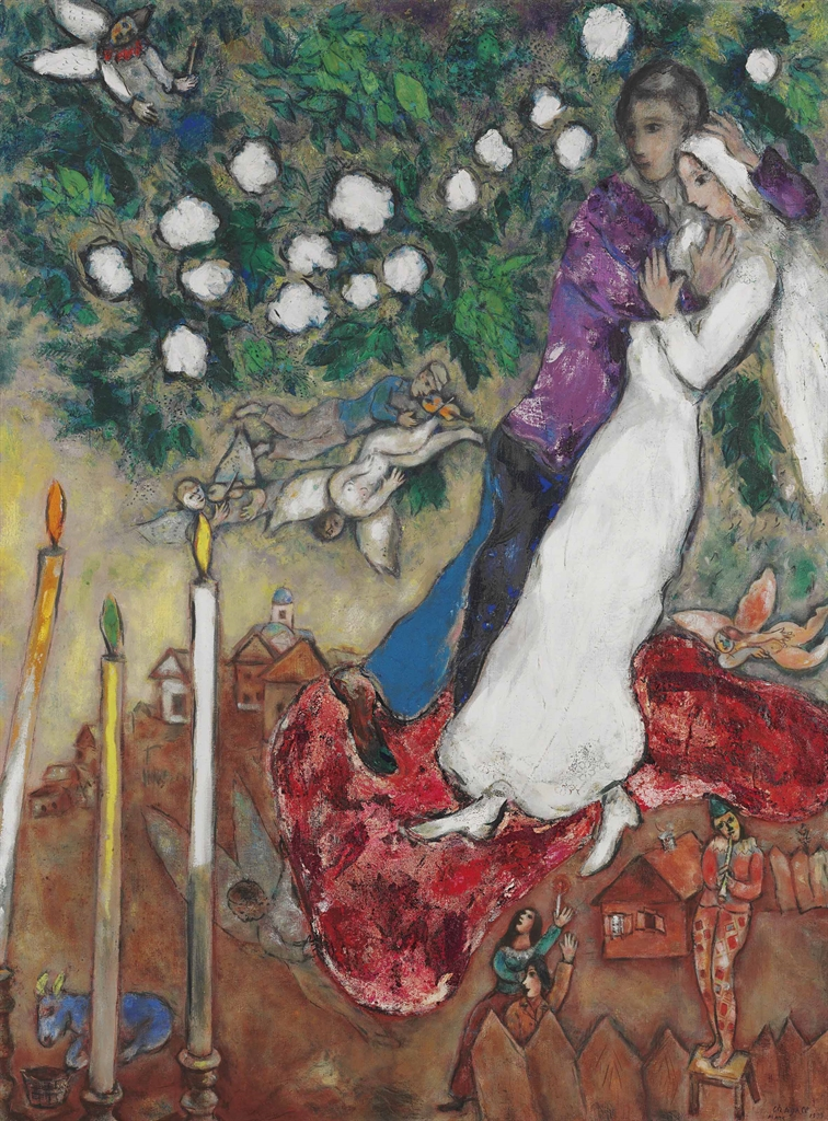 Marc Chagall (1887-1985), Les trois cierges, 1939. Oil on canvas, 51 ¼ x 38 ¼ in (130.2 x 97.1 cm). Estimate $8,000,000-12,000,000. This lot is offered in Impressionist & Modern Art Evening Sale on 15 May 2017, at Christie's in New York