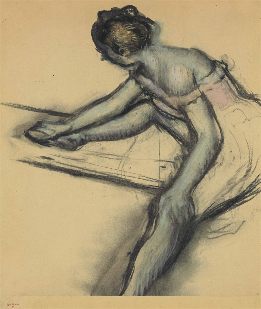 Edgar Degas (1834-1917), Danseuse assise de profil, circa 1896. Charcoal and pastel on joined paper laid down on board, Image size 18⅛ x 16⅝ in (46.1 x 42.2 cm), Sheet size 20 ¾ x 20 ¼ in (52.7 x 51.5 cm). Estimate $800,000-1,200,000. This lot is offered in Impressionist & Modern Art Evening Sale on 15 May 2017, at Christie's in New York
