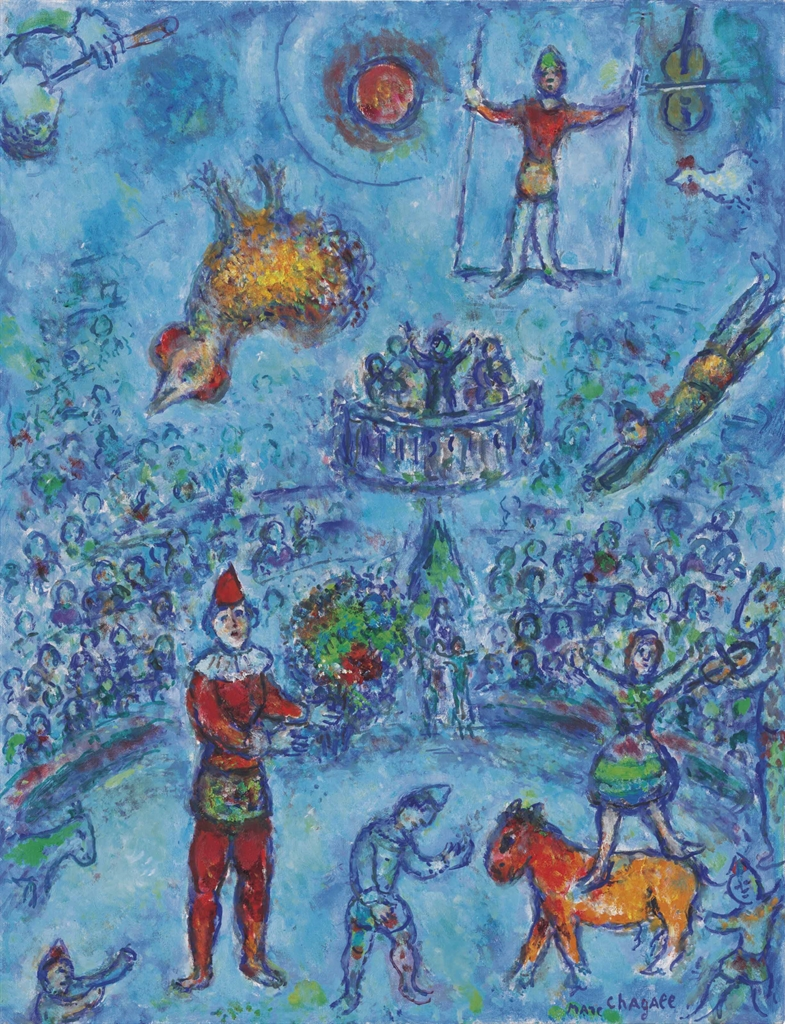 Marc Chagall (1887-1985), Le petit cirque bleu. Oil on canvas, 25⅝ x 19⅝ in (65 x 50 cm). Estimate $1,000,000-1,500,000. This lot is offered in Impressionist & Modern Art Evening Sale on 15 May 2017, at Christie's in New York