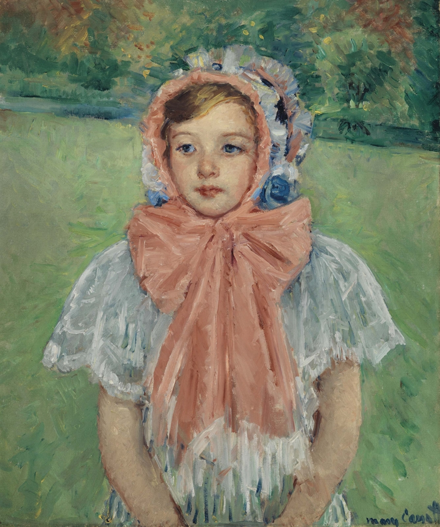 Mary Cassatt (1844-1926), Girl in a Bonnet Tied with a Large Pink Bow. Oil on canvas, 26¾ x 22½ in (68 x 57.2 cm). This lot was offered in American Art on 23 May 2017 at Christie's in New York and sold for $2,287,500