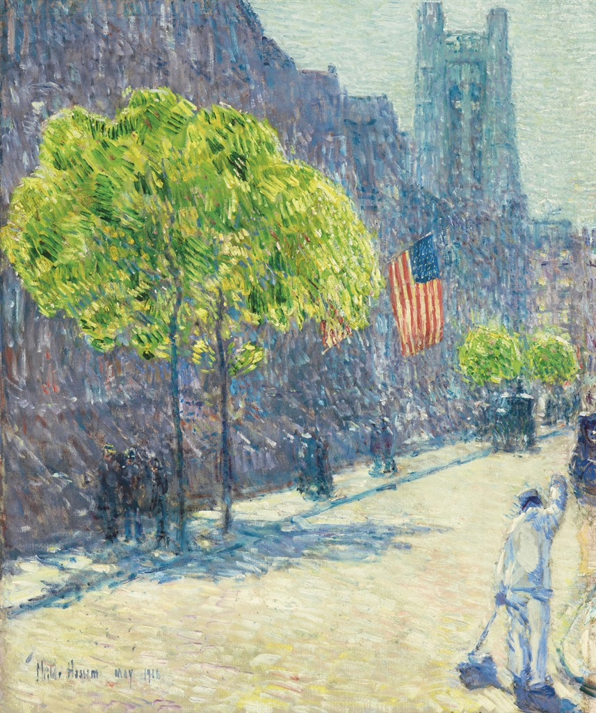 Childe Hassam (1859-1935), Just Off the Avenue, Fifty-third Street, May 1916. Oil on canvas, 31¼ x 26½ in (79.4 x 67.3 cm). Sold for $2,407,500 on 23 May 2017 at Christie's in New York