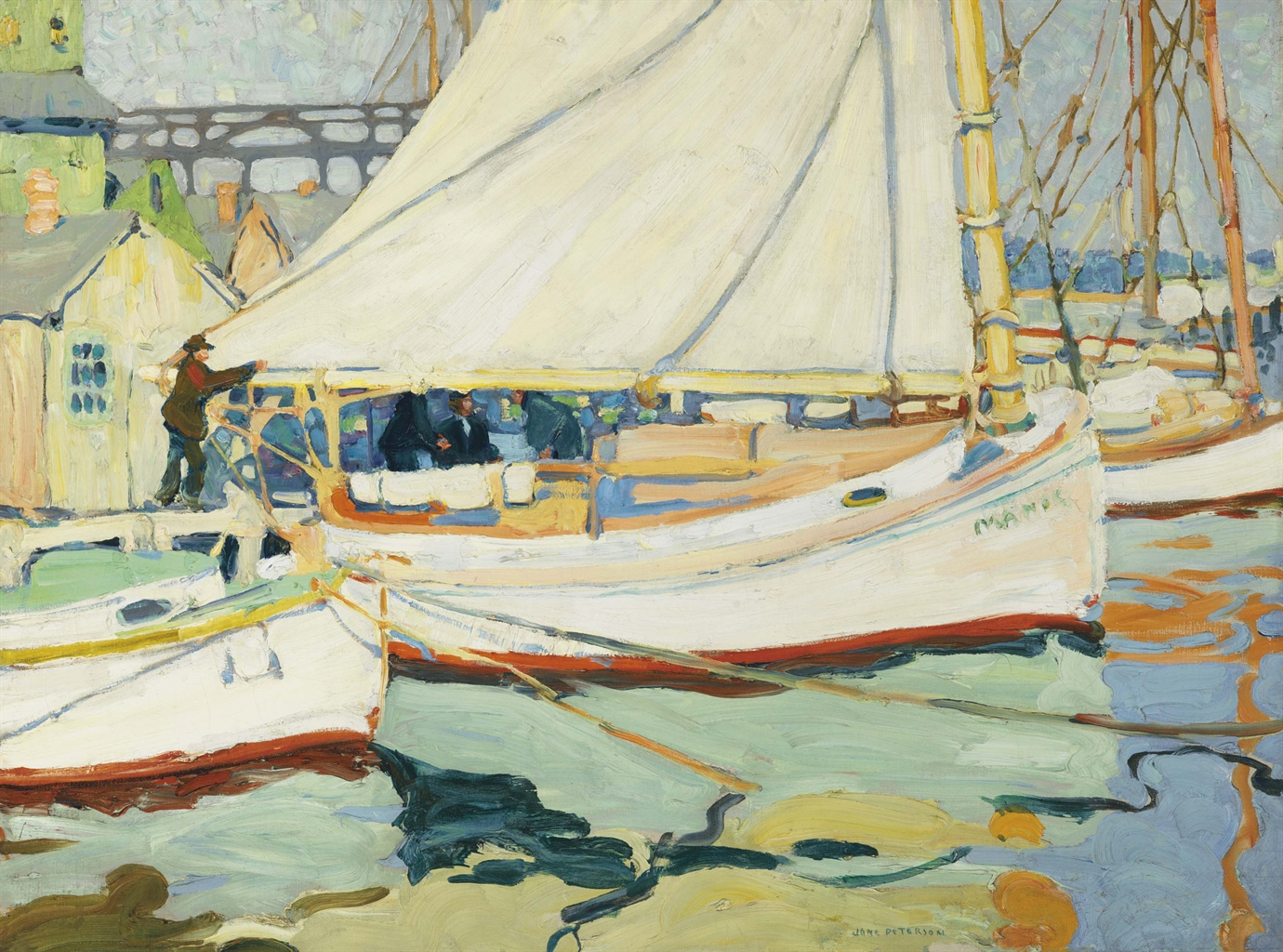 Jane Peterson (1876-1965), Boats. Oil on canvas, 30 x 40 in (76.2 x 101.6 cm). This lot was offered in American Art on 23 May 2017 at Christie's in New York and sold for $118,750