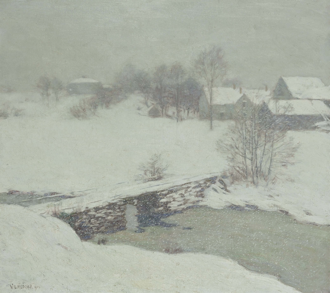 Willard Leroy Metcalf (1858-1925), The White Mantle. Oil on canvas, 25½ x 28½ in (64.8 x 72.4 cm). This lot was offered in American Art on 23 May 2017, at Christie's in New York