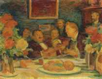At K. A. Korovin's: 'old-time songs' (Chaliapin and the artists)
