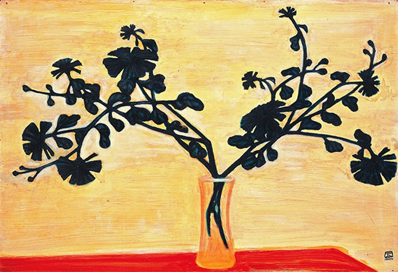 Sanyu, Chrysanthemums in a Vase on a Red Table, executed in the 1950s. Photo © The Li Ching Foundation, Taipei.