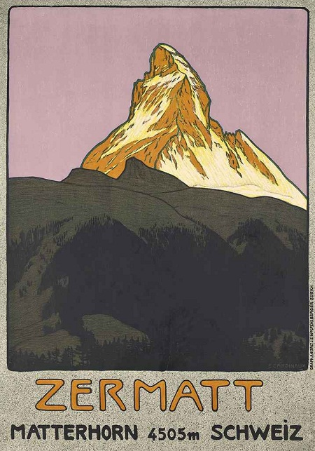 Emil Cardinaux's classic lithograph of Zermatt and the Matterhorn