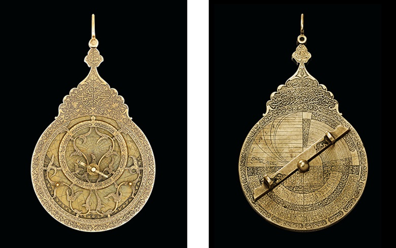A fine Safavid brass astrolabe, Tabriz, Iran, 1705-06 AD. 5¾ in (14.6 cm) high overall; 3⅜ in (8.5 cm)  diam. Sold for £170,500 on 23 April 2015 at Christie's in London