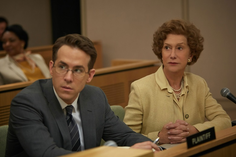 A courtroom scene from Woman in Gold, starring Helen Mirren as Maria Altmann, the niece of  Klimt's muse, and Ryan Reynolds as E Randol 'Randy Schoenberg, her lawyer. Photograph by Robert Viglasky