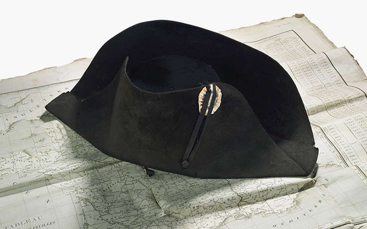 The Emperor Napoleon s hat. Worn throughout the Campaign of 1807. Imperial  black felt bicorne campaign hat £300 8da75df80c2