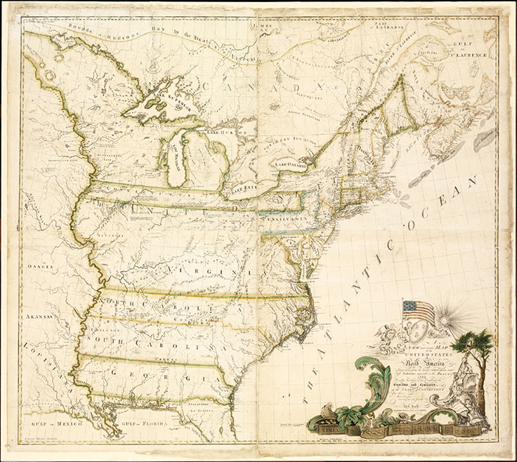 A New And Correct Map Of The United States Of North America Layd Down From The Latest Observations And Best Authorities Agreeable To The Peace Of 1783