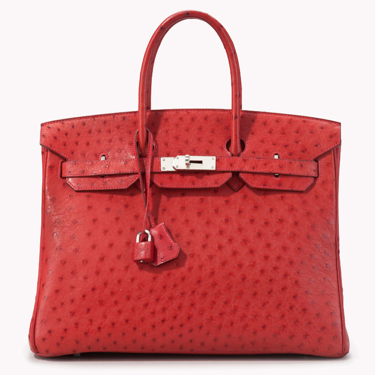 aff0643669 Hermès  use of color and exotic materials has long distinguished the brand  from its competitors. This exquisite 35cm red ostrich Birkin is a true work  of ...
