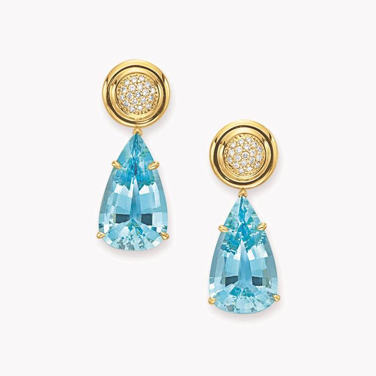 A Pair Of Aquamarine Diamond And Gold Ear Pendants By Paloma Pico Tiffany Co