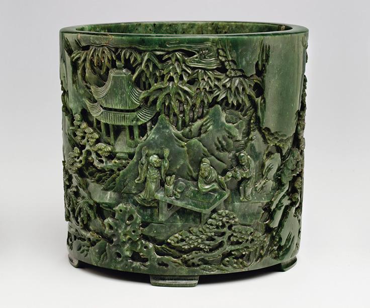 清乾隆 碧玉雕竹溪六逸图笔筒,此拍品于2012年9月13至14日在佳士得纽约重要中国瓷器及工艺精品拍卖中以482,500美元成交。