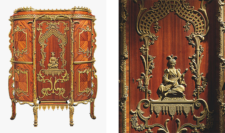 An Important French Ormolu Mounted Kingwood And Bois Satiné Cabinet By  Emmanuel Alfred (dit Alfred II) Beurdeley, Paris, Dated 1894.