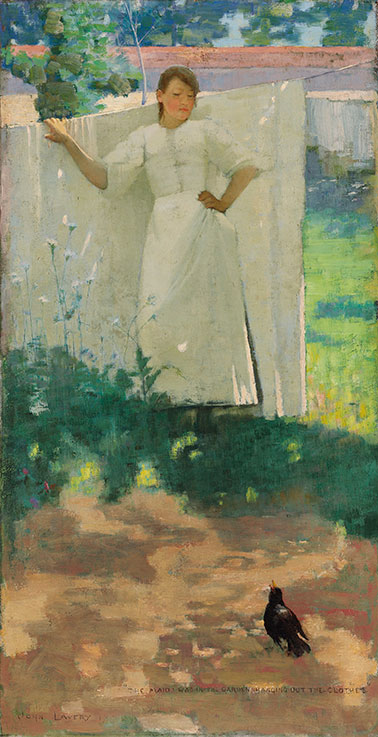 Sir John Lavery, R.A., R.S.A., R.H.A. (1856u20131941), The Maid Was In The Garden  Hanging Out The Clothes, 1883. Oil On Canvas; 29 X 15 In. (73.2 X 38.2 Cm.