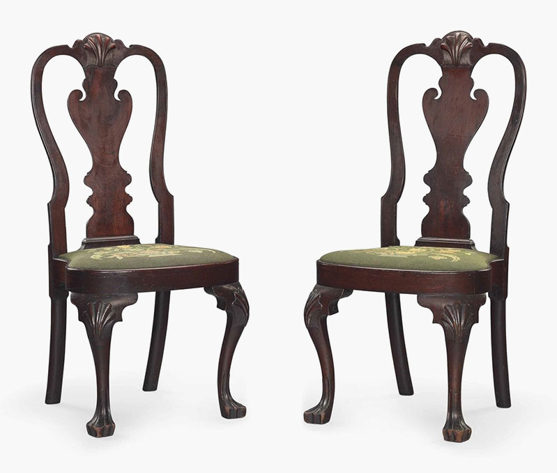 A Pair Of Queen Anne Mahogany Compass Seat Side Chairs. Philadelphia, 1750