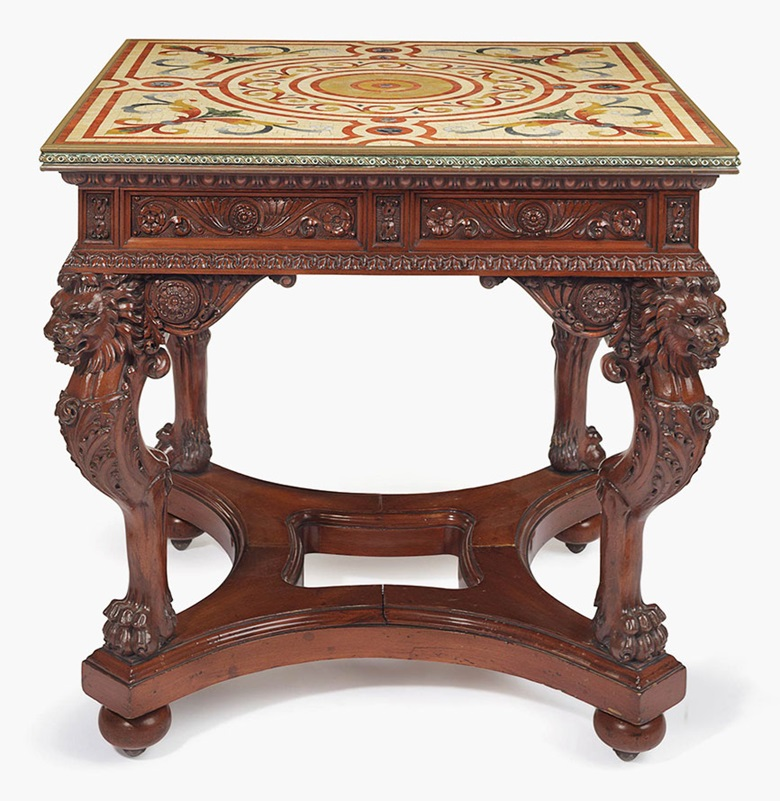 A Renaissance Revival carved mahogany and brass-mounted specimen marble-top centre table, New York or Philadelphia, circa 1870. This lot was offered in American Furniture, Outsider Art and Silver on 20 September 2016 at Christie's in New York and sold for $32,500