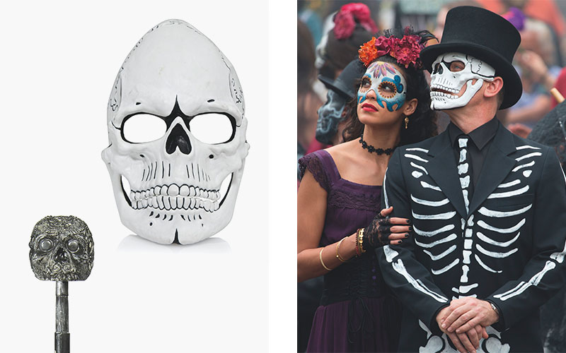 20a83064001 James Bond s Day of the Dead Costume worn by Daniel Craig. Black frock coat  with white hand painted bones