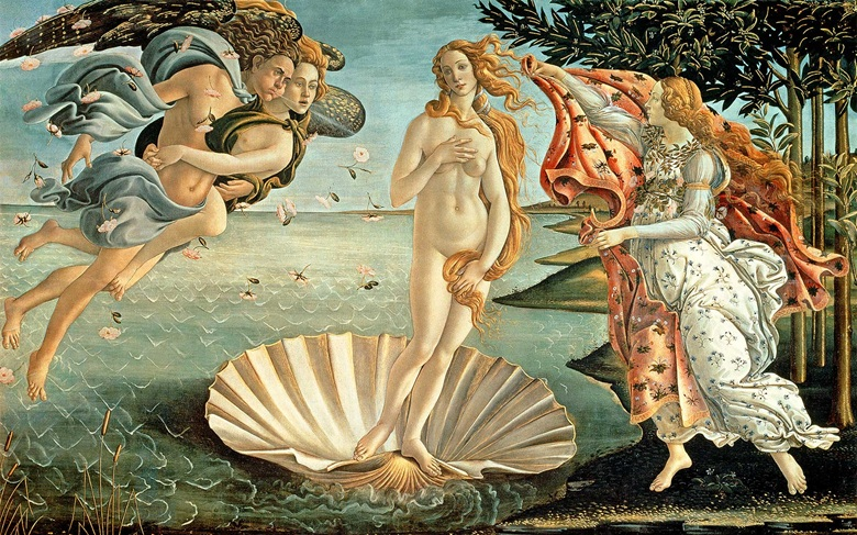 Sandro Botticelli, The Birth of Venus, c. 1485. Galleria degli Uffizi, Florence, Italy  Bridgeman Images