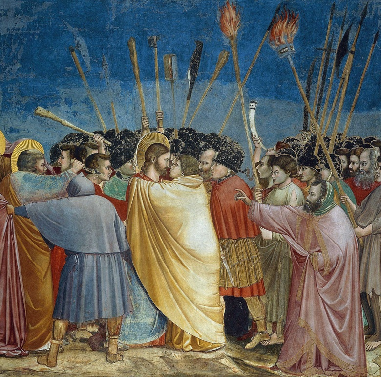 Giotto, Kiss of Judas, part of the Arena Chapel fresco cycle in Padua, 1303–05. De Agostini Picture Library  A. Dagli Orti  Bridgeman Images