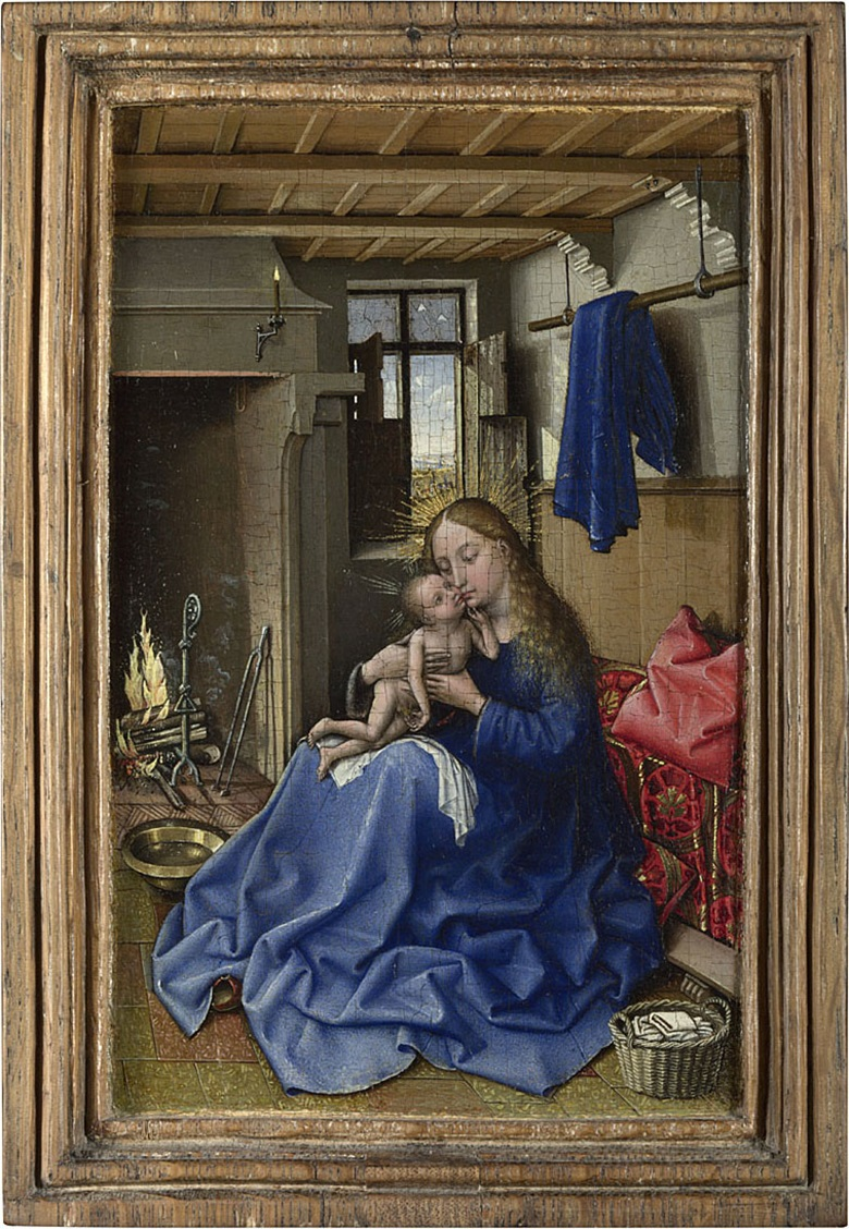 Workshop of Robert Campin (Jacques Daret), The Virgin and Child in an Interior, before 1432. Oil on oak. Photograph © The National Gallery, London.