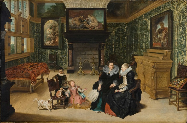 Frans Francken II (1581-1642) and attributed to Cornelis de Vos (15845-1651), Interior Scene, also called 'Ruben's Salon', circa 1625-30. Oil on panel. Nationalmuseum Stockholm.