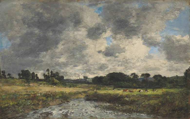 Eugène Boudin (1824-1898), Touques, les prairies à marée basse, painted between 1888 -1895, from the Indosuez Wealth Management France Collection. Oil on canvas, 36.5 x 58.3 cm. Estimate €60,000-80,000. This work is offered in Art Impressionniste & Moderne on 31 March at Christie's in Paris