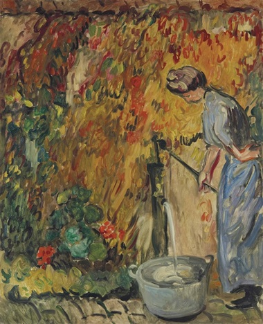 Louis Valtat (1869-1952), Femme à la pompe, circa 1905, from the Indosuez Wealth Management France Collection. Oil on canvas, 99.6 x 81.1 cm. Estimate €40,000-60,000. This work is offered in Art Impressionniste & Moderne on 31 March at Christie's in Paris