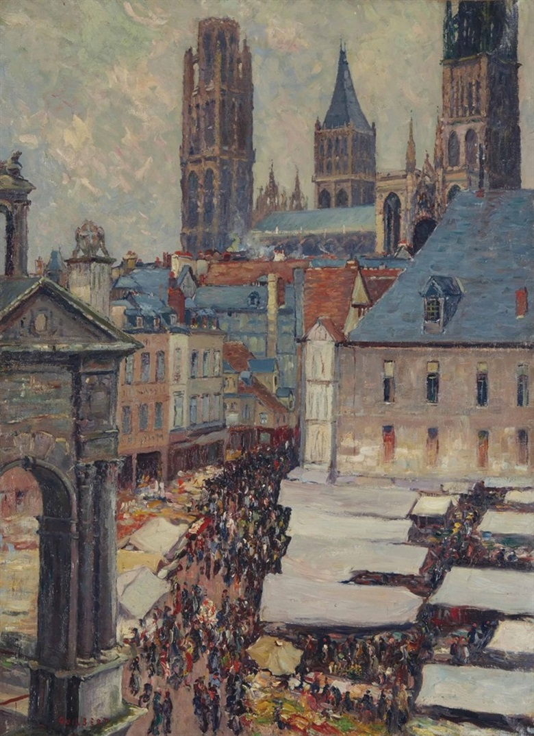 Narcisse Guilbert (1878-1942), Place du Marché à Rouen, from the Indosuez Wealth Management France Collection. Oil on canvas, 100.4 x 73 cm. Estimate €2,000-3,000. This work is offered in Art Impressionniste & Moderne on 31 March at Christie's in Paris