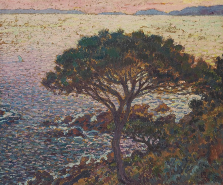Théo van Rysselberghe (1862-1926), Cap Bénat, pin sur la côte, 1914, from the Indosuez Wealth Management France Collection. Oil on paper laid down on canvas, 46.2 x 55.3 cm. Estimate €100,000-150,000. This work is offered in Art Impressionniste & Moderne on 31 March at Christie's in Paris