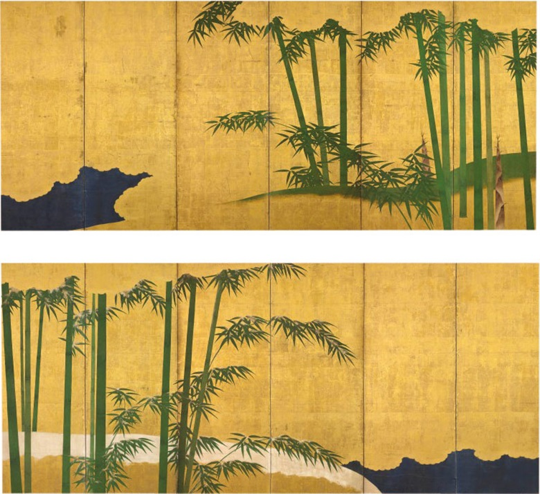 A pair of six-fold screens with bamboo, Edo period (18th century). Ink, colour and gold leaf on paper. 67.1 x 148.4 in (170.5 cm x 377 cm). This work was offered in the Fine Japanese Works of Art sale on 9 November 2016, at Christie's London