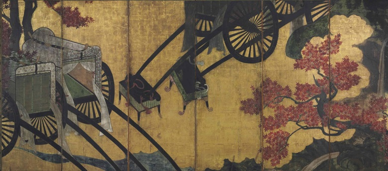 Anonymous (17th century), Court carriages and maple trees. Six-panel screen. Ink, colour, gold and gold leaf on paper. 61⅝ x 137½ in (156.7 x 349.3 cm). This work was offered in An Inquiring Mind American Collecting of Japanese and Korean Art on 15 April 2016 at Christie's New York and sold for $37,500