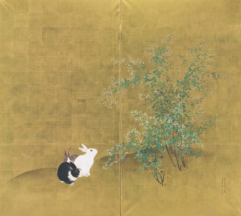 Mori Kansai (1814-1894), Rabbits, 1881. Two-panel screen. Ink, colour and gold leaf on paper. 65¼ x 72¼ in (165.7 x 183.2 cm). Sold for $11,875 on 18 September 2013 at Christie's New York