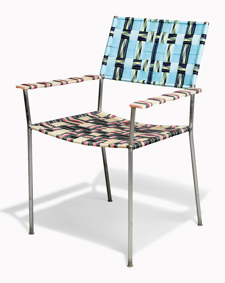 Franz West (1947-2012), Onkel-Stühl (Uncle Chair), 2008. Steel frame with woven synthetic textile. 33 x 24 x 21 14in. (84 x 61 x 54cm.) Estimate £7,000-10,000. This work is offered in FIRST OPEN  London on 14 April at Christie's South Kensington